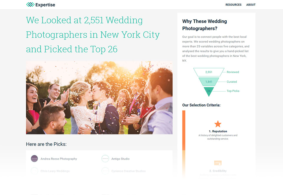 Top NYC Wedding Photographers according to Expertise.com