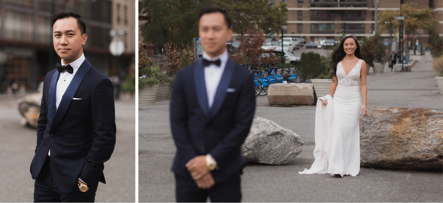 A first look session of a bride and a groom near Mr. C Seaport Hotel on a wedding day at Cipriani Wall Street.