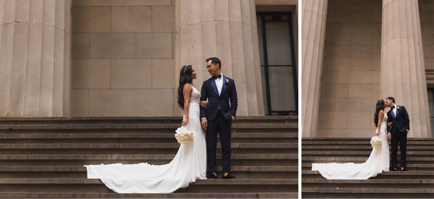 A portrait session of a couple near Cipriani Wall Street in New York City before their wedding ceremony.