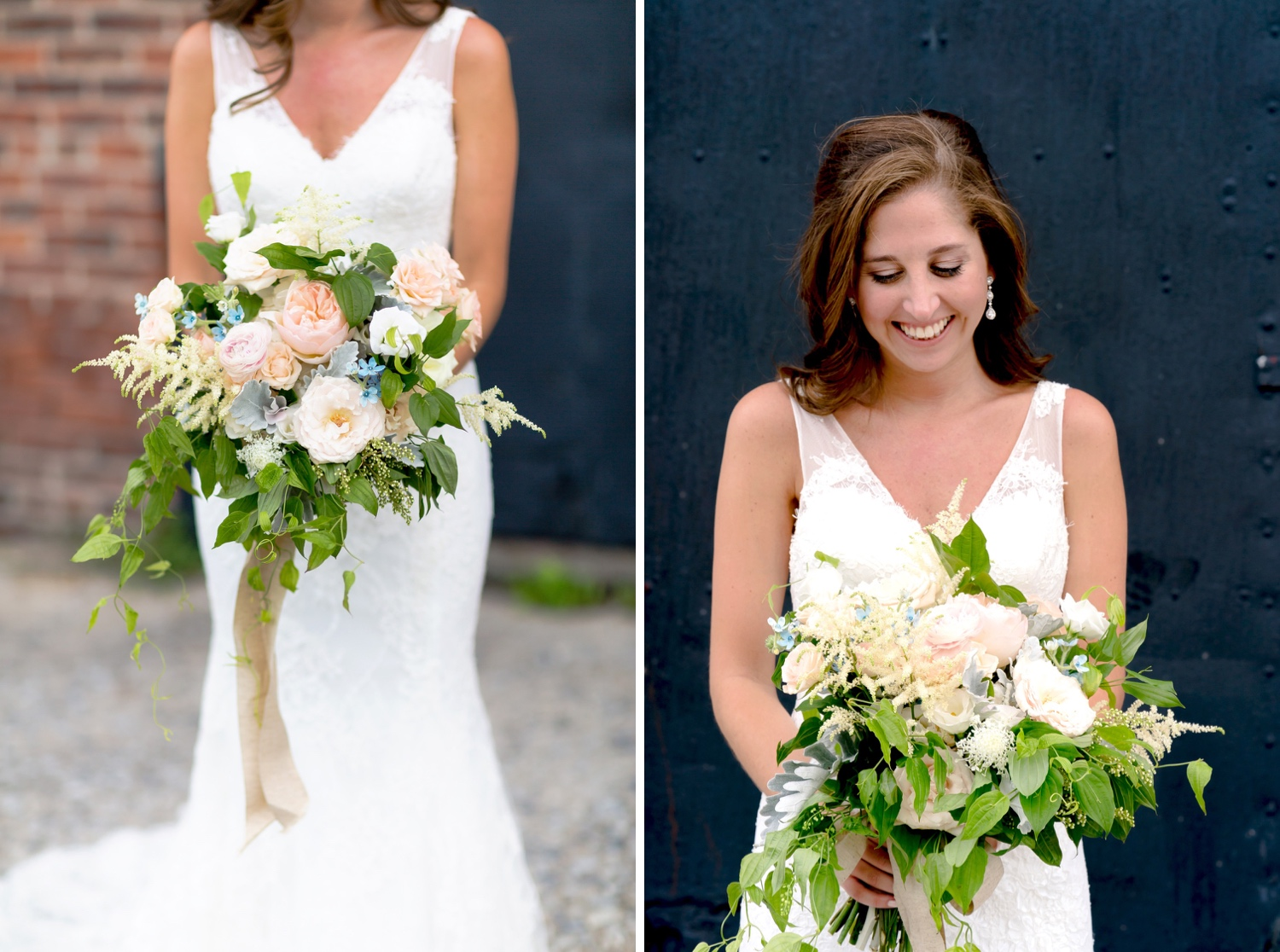 A portrait of a bride with her bouquet near Liberty Warehouse, Brooklyn New York.