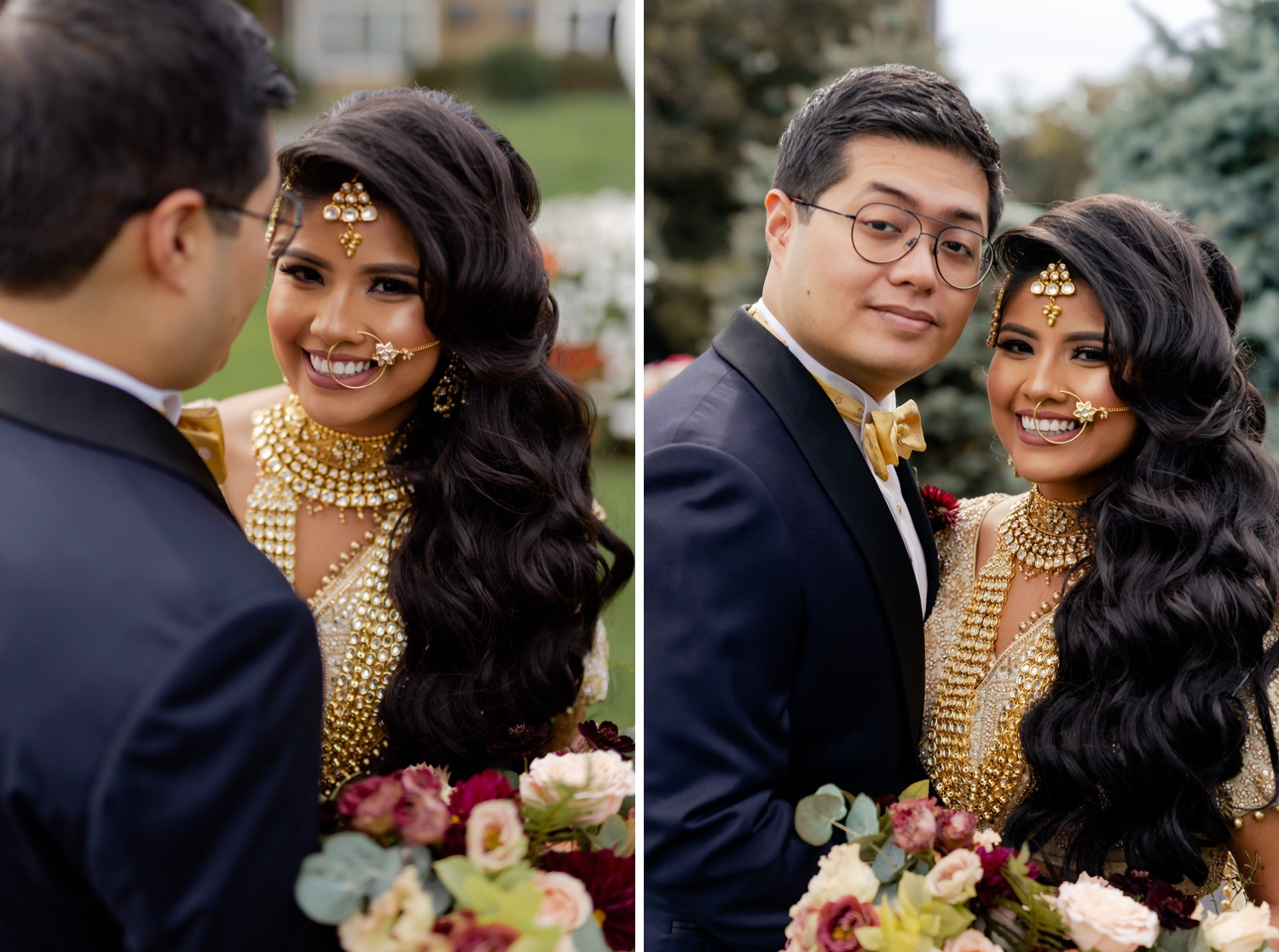 A wedding couple's portrait session during a first look on a wedding day at the Tappan Hill Mansion.