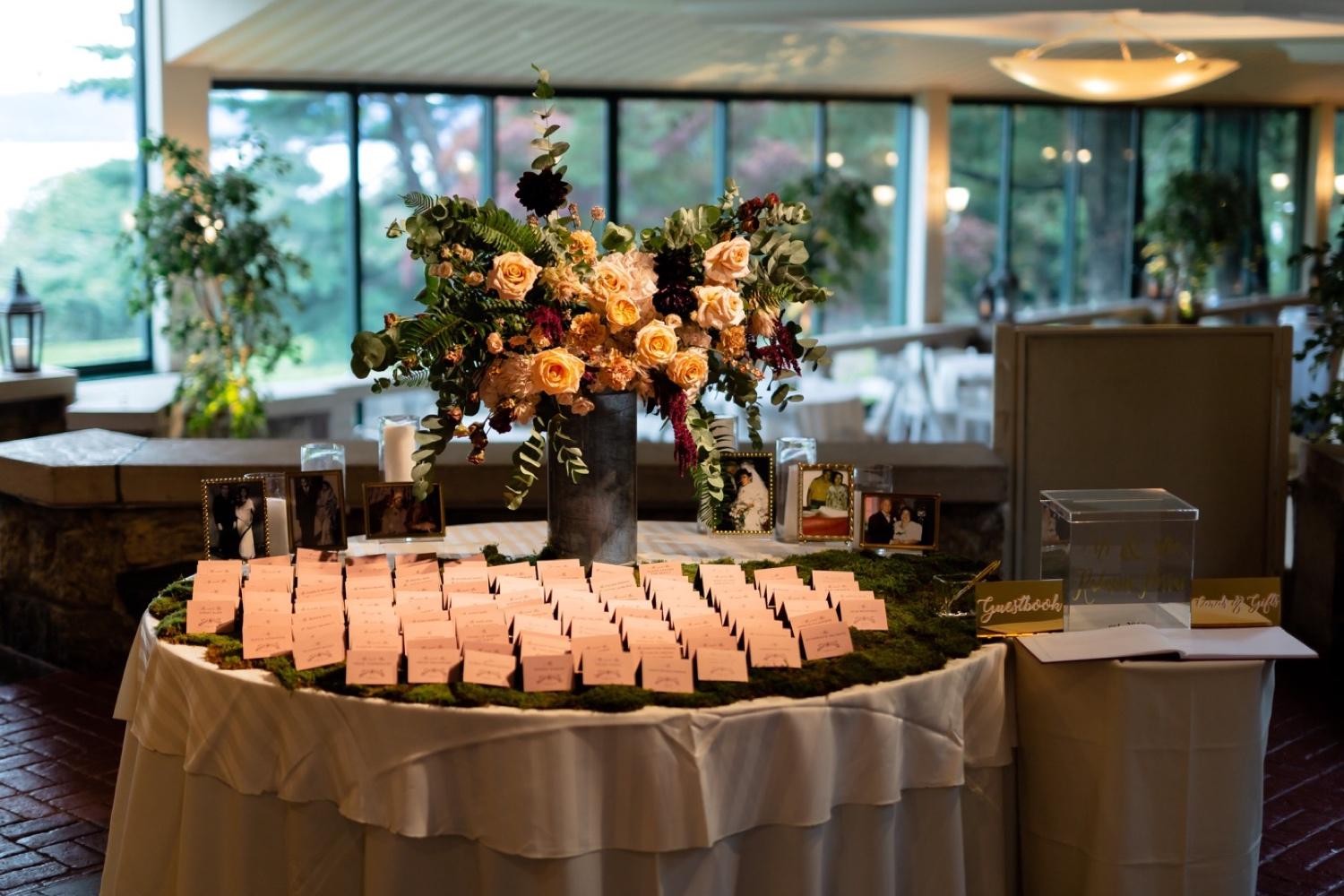 Wedding guest card table at the Tappan Hill Mansion.