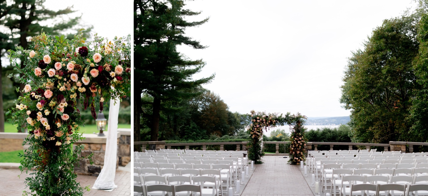 Wedding ceremony setting at the Tappan Hill Mansion.