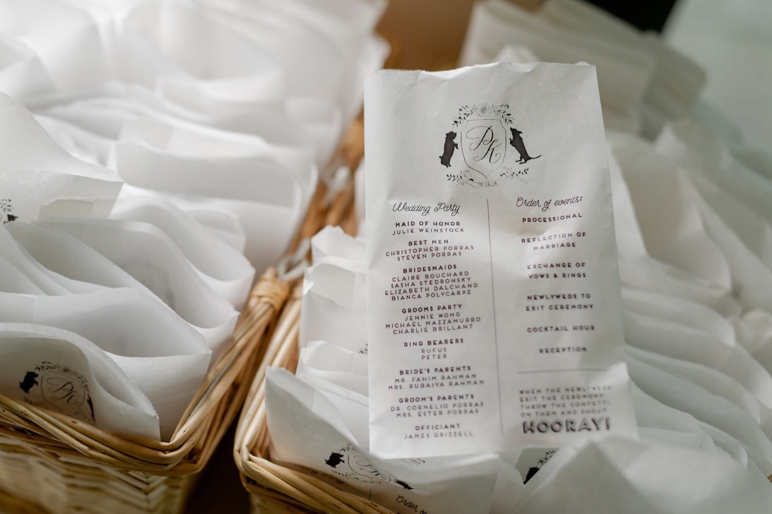 Wedding items for guests at the Tappan Hill Mansion.