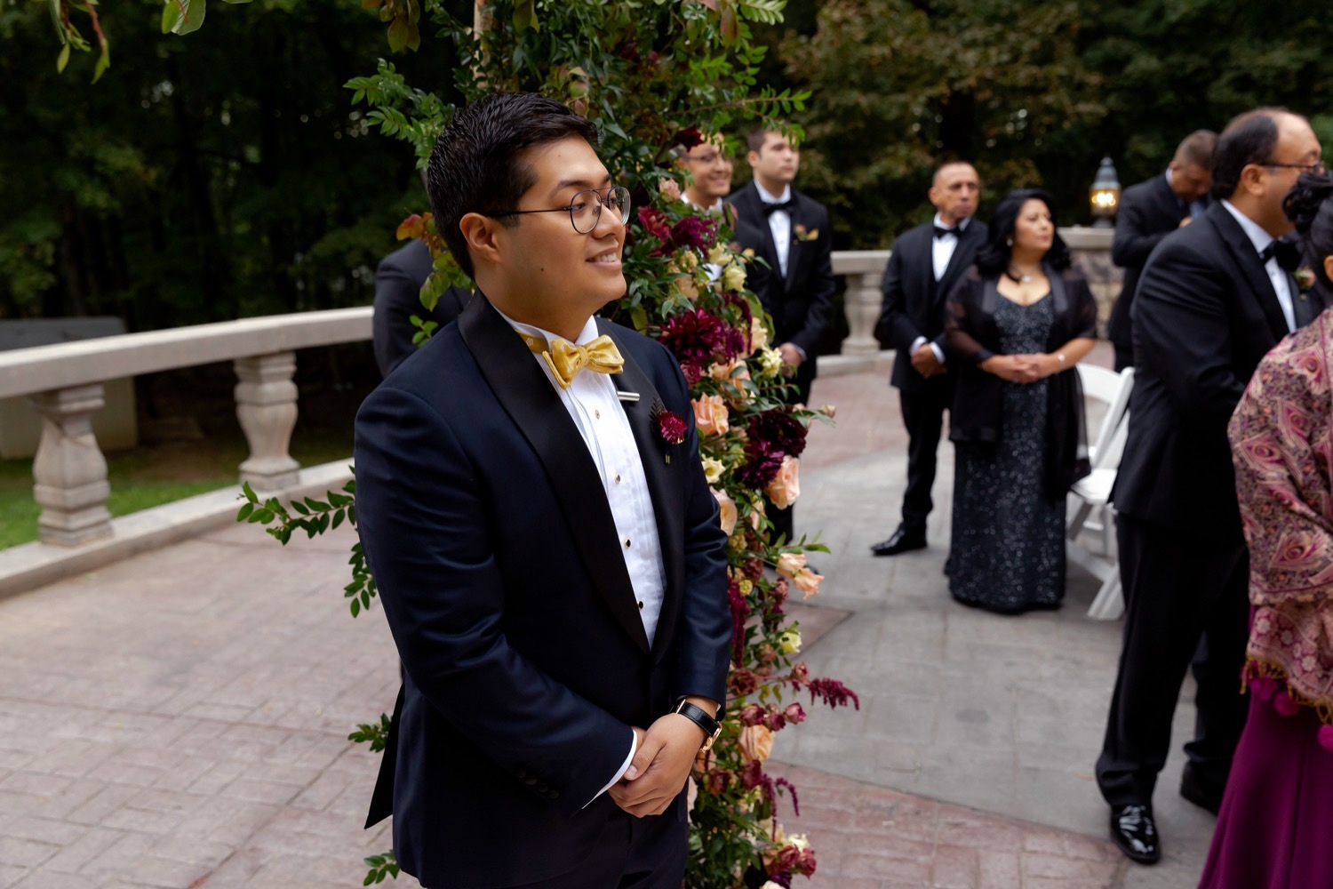 A groom seeing his bride coming for a wedding ceremony at the Tappan Hill Mansion.