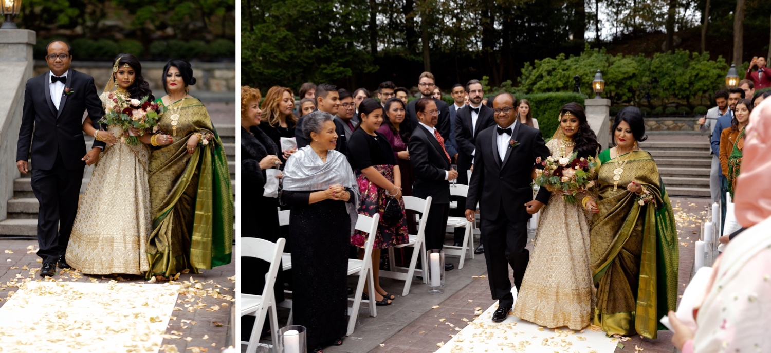 Wedding guests watching a bride coming into the wedding ceremony at the Tappan Hill Mansion.