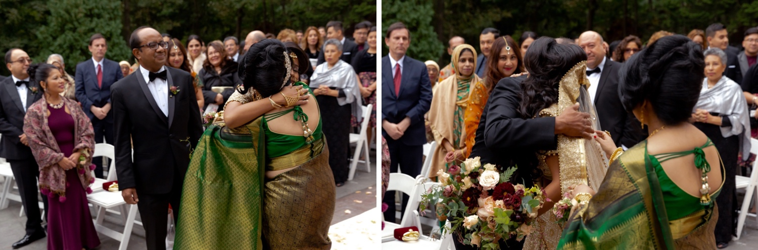 A bride hugging his parents before the wedding ceremony starts at the Tappan Hill Mansion.