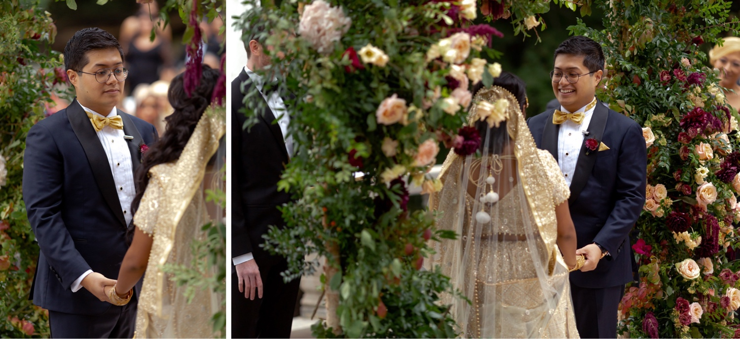 A groom looking at her beloved bride during a wedding ceremony at the Tappan Hill Mansion.