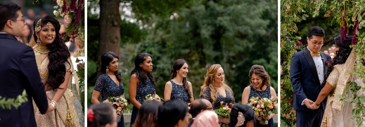 A wedding couple and a bridesmaids during a wedding ceremony at the Tappan Hill Mansion.