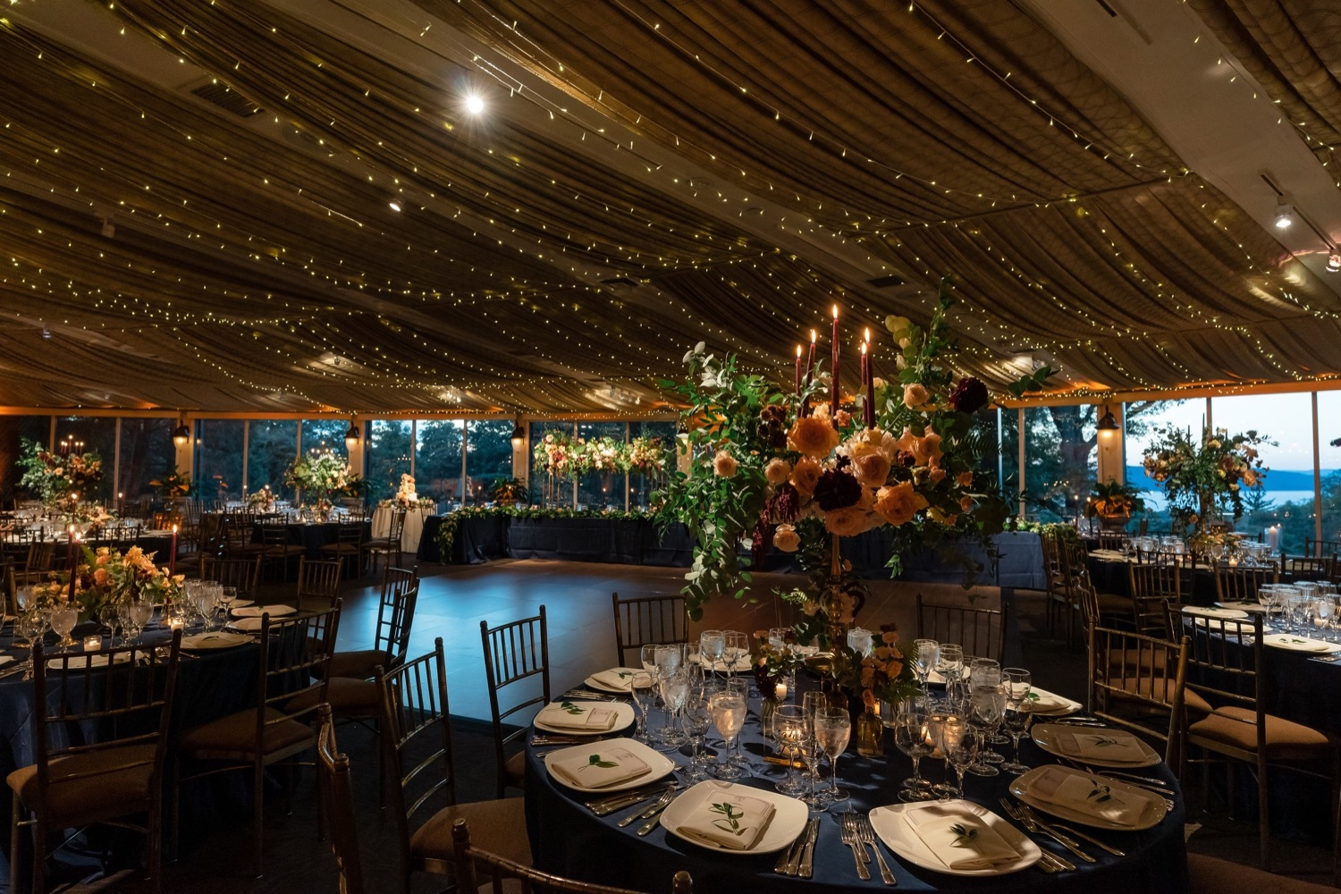 Wedding reception setting at the Tappan Hill Mansion.