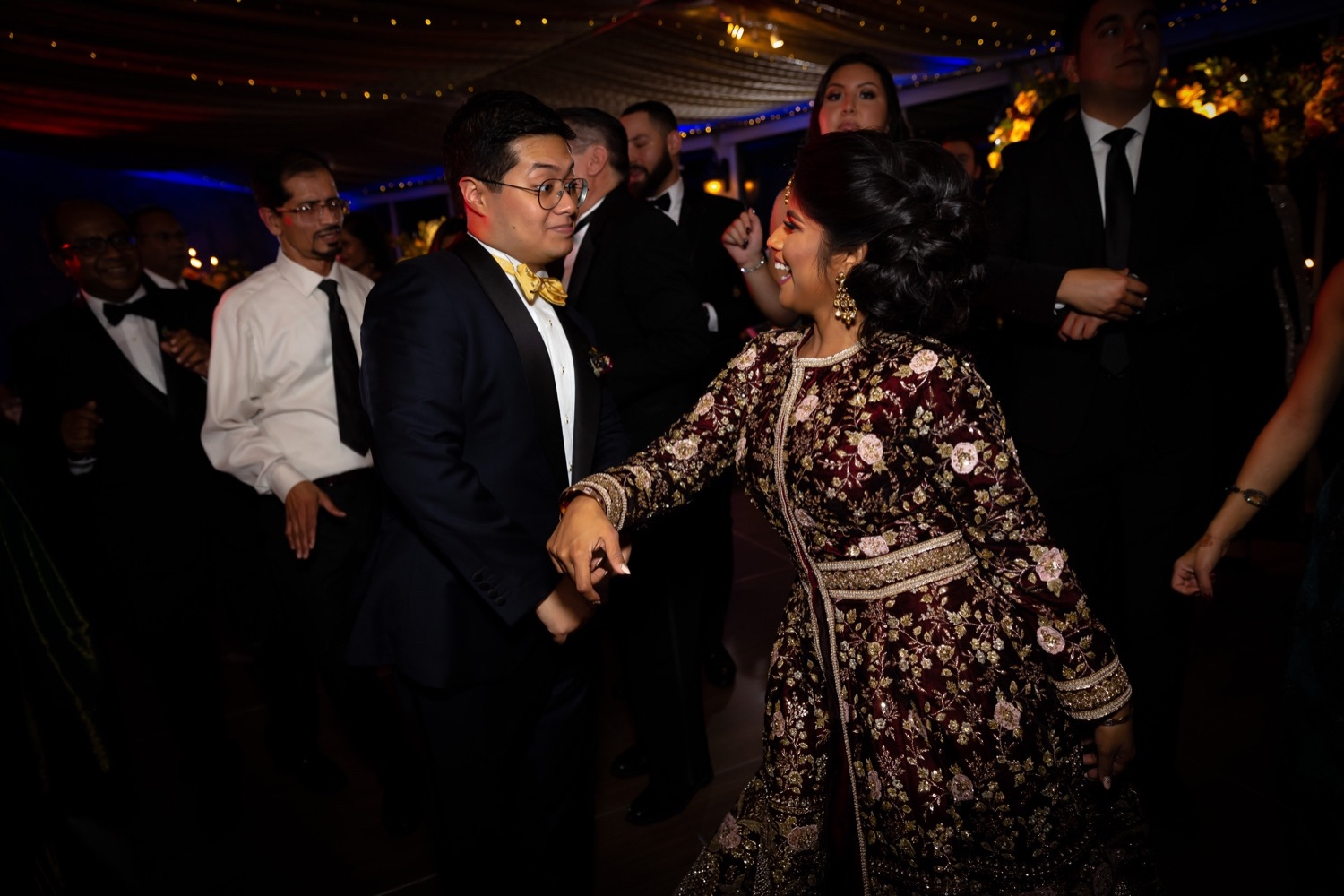 A newly wedded couple dancing during their wedding reception at the Tappan Hill Mansion.