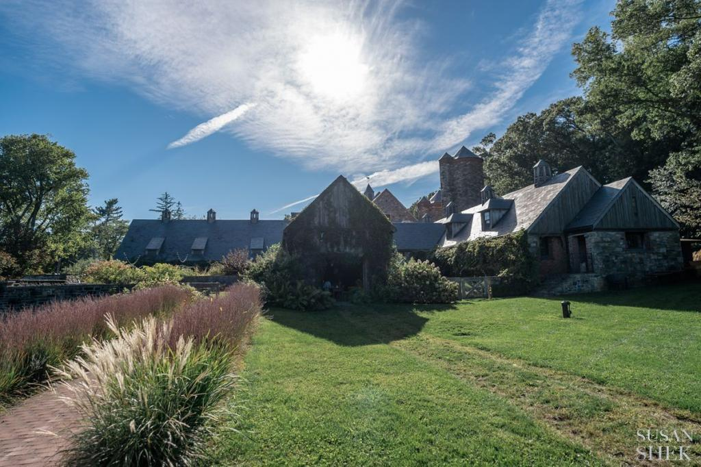 the path leading to blue hill stone barns