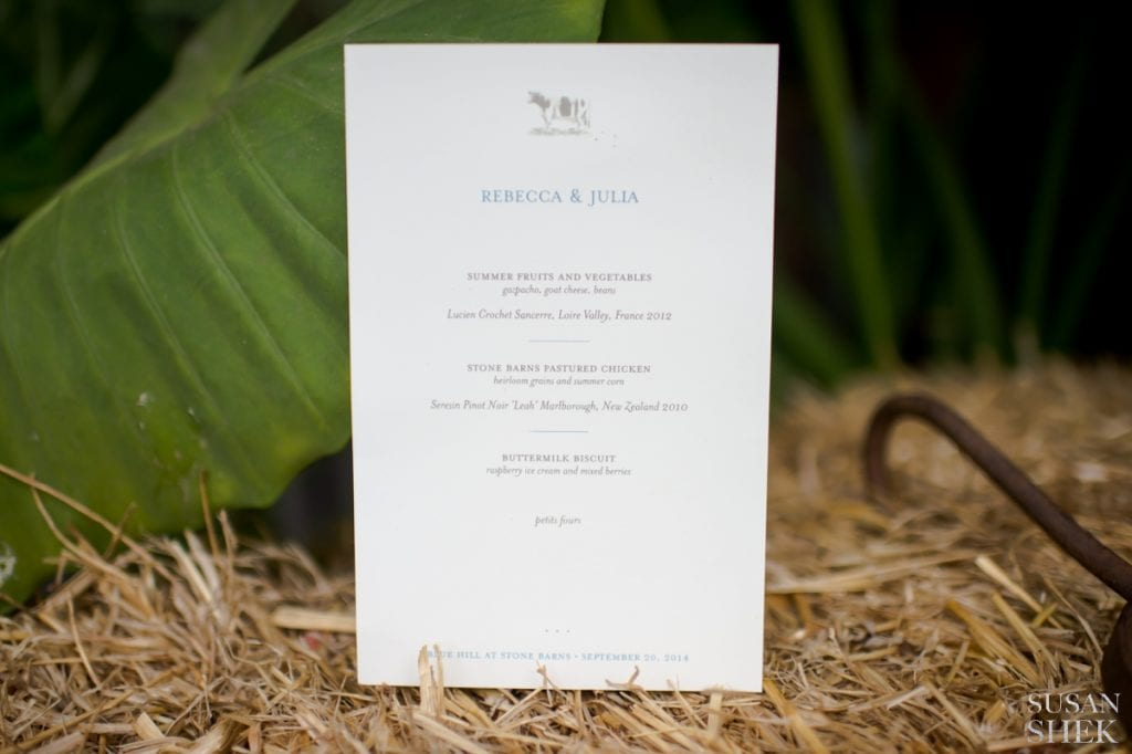 one of the custom wedding menus of blue hill stone barns