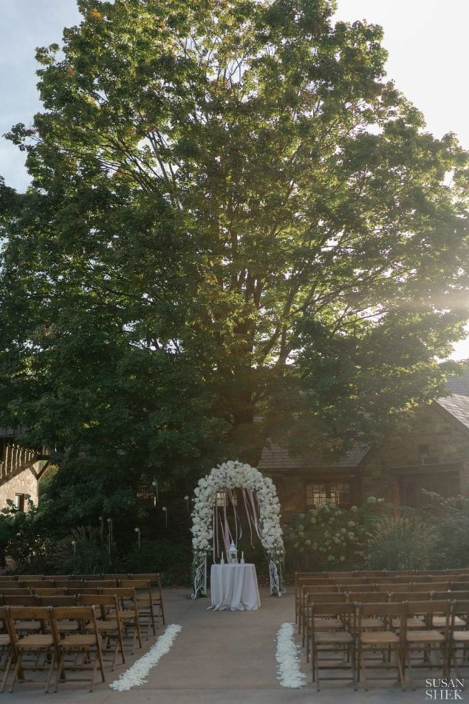 golden hour ceremony at blue hill stone barns
