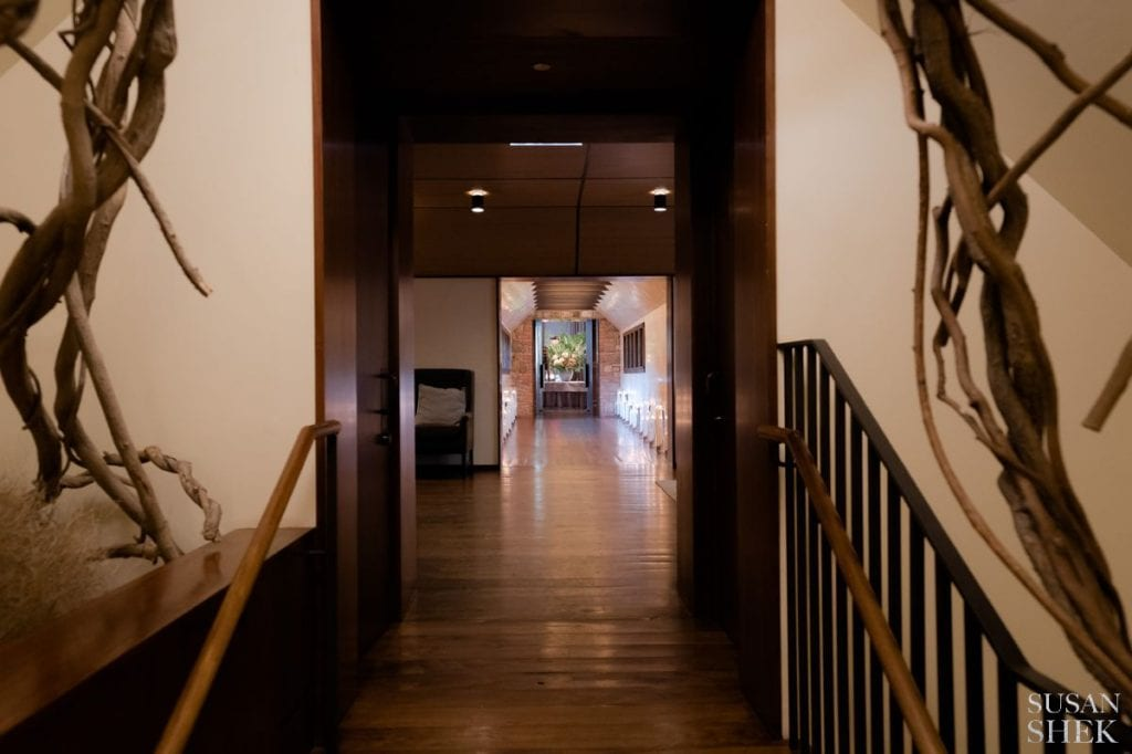 hallway leading to reception room of blue hill stone barns