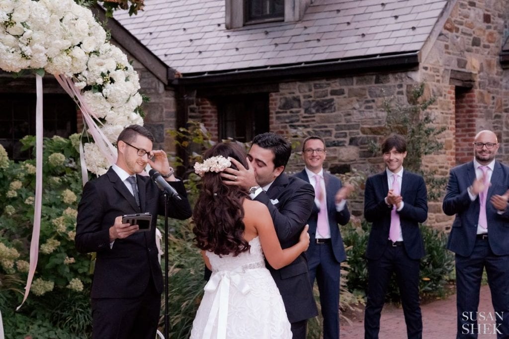 first kiss at blue hill stone barns ceremony