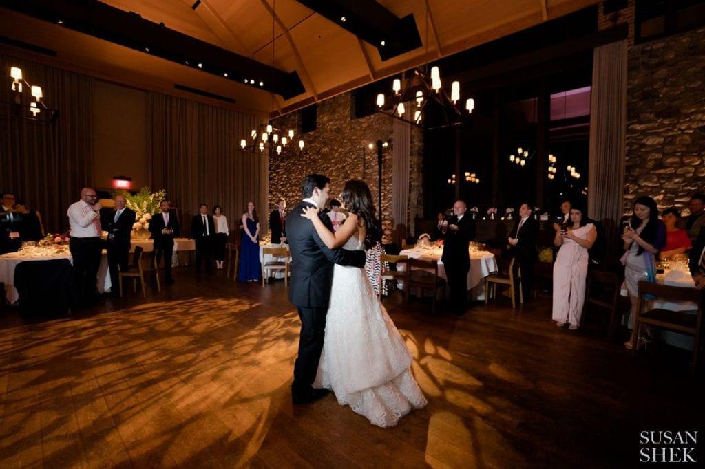 first dance inside blue hill stone barns