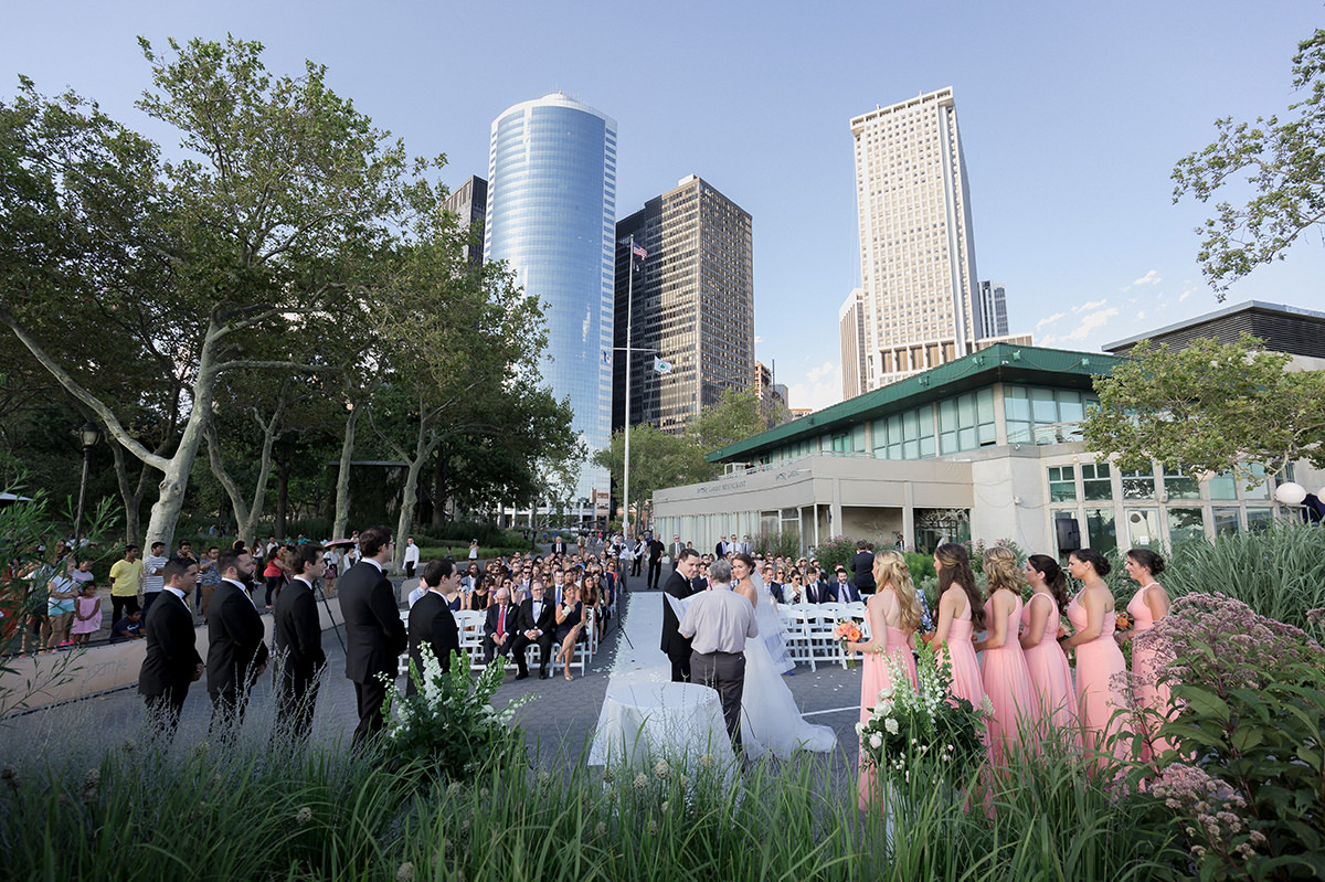 wedding outdoors at battery gardens in new york city
