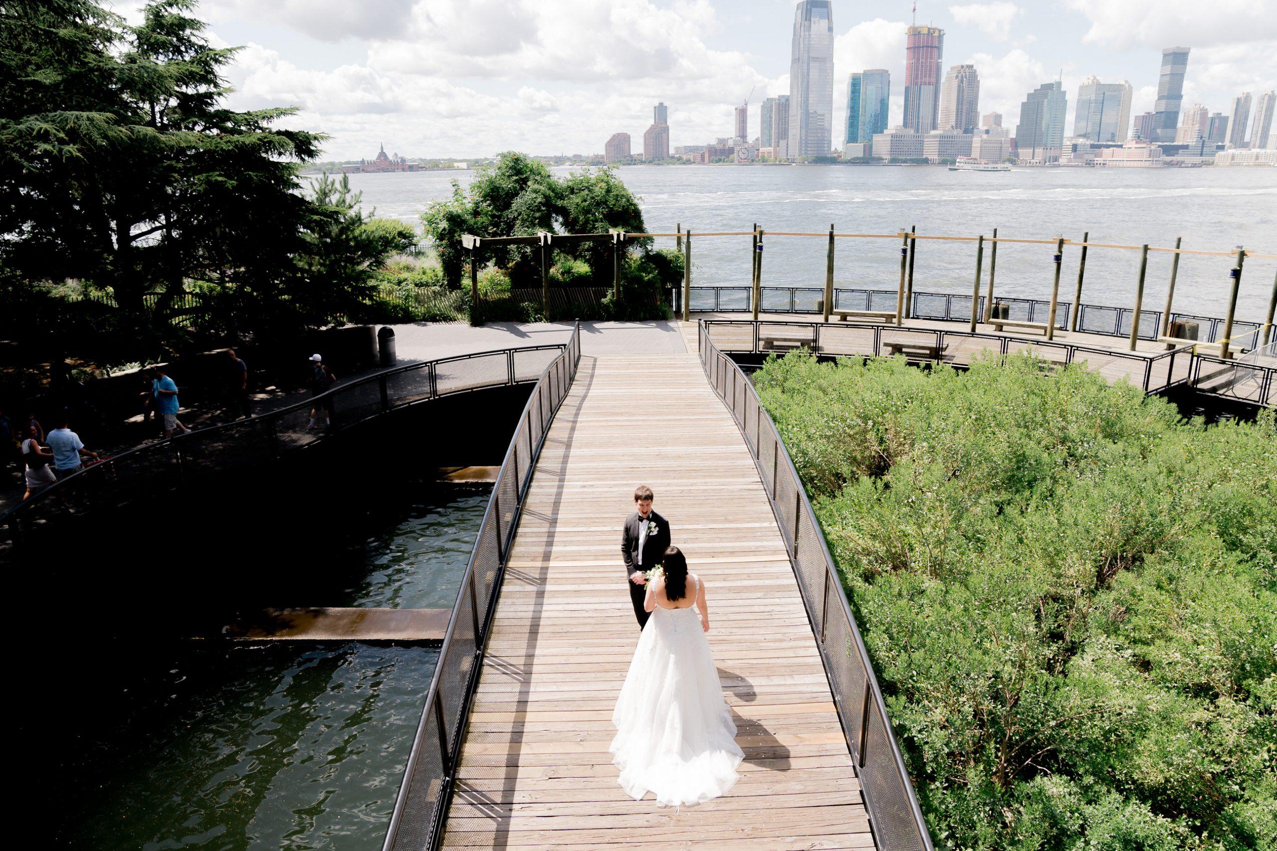 first look near battery gardens before wedding