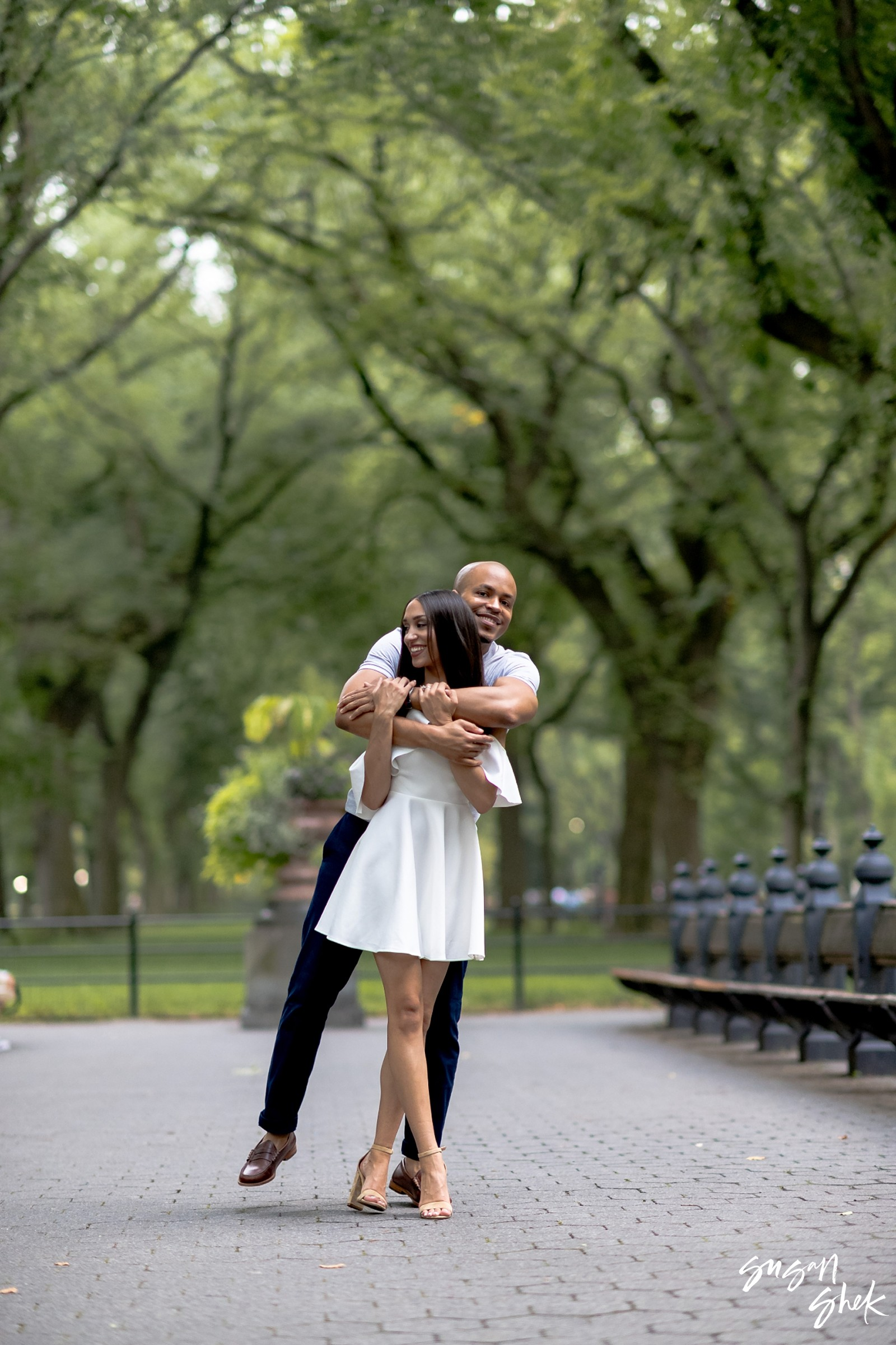 At the famous central park mall with an engaged couple for their photo shoot in the park, Engagement Shoot, NYC Engagement Photographer, Engagement Session, Engagement Photography, Engagement Photographer, NYC Wedding Photographer